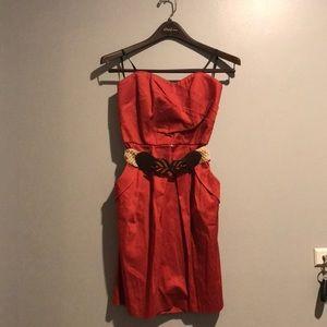 Iz Byer rust colored dress with belt